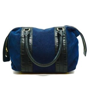 ROBERT CLERGERIE~bowling~TOTE BAG~NAVY~LEATHER